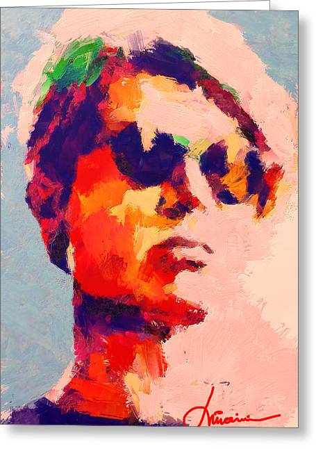 The Boy With Black Shades Greeting Card