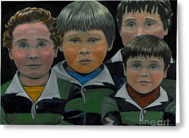 Greeting Card featuring the painting The Boys Down The Street by Gail Finn