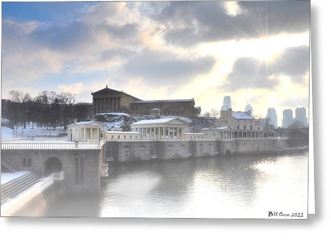 The Breaking Sun Over Philadelphia Greeting Card by Bill Cannon