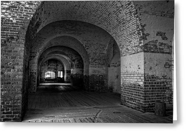 The Bricks Of Fort Pulaski In Black And White Greeting Card