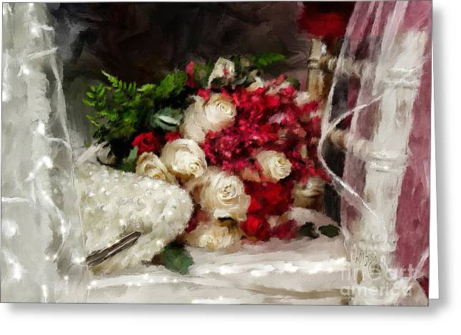 The Bride's Bouquet Greeting Card by Lois Bryan