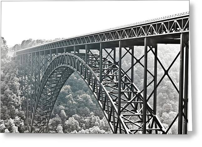The Bridge B/w Greeting Card