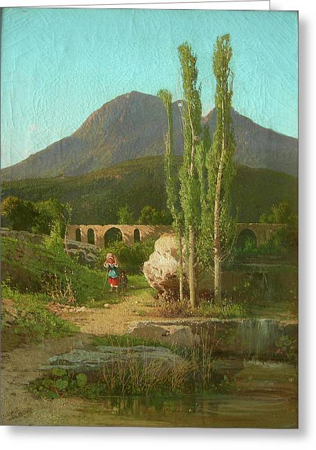 The Bridge Of Cava Dei Tirreni In The Background Greeting Card by MotionAge Designs