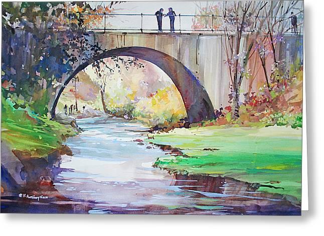 The Bridge Over Brewster Garden Greeting Card