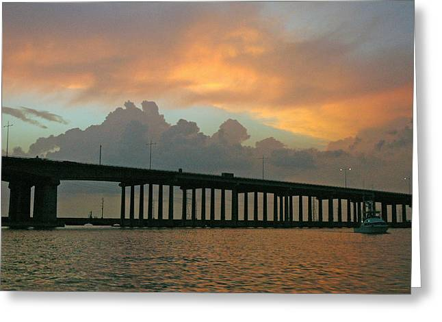 The Bridge To Galveston Greeting Card by Robert Anschutz