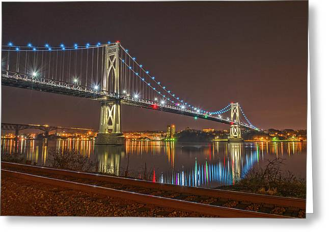 The Bridge With Blue Holiday Lights Greeting Card