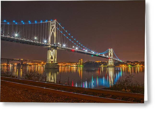 The Bridge With Blue Holiday Lights Greeting Card by Angelo Marcialis