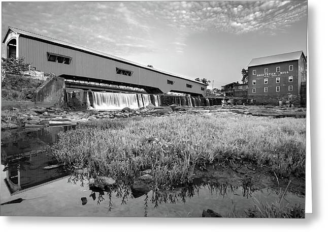 The Bridgeton Mill And Covered Bridge - Indiana - Monochrome Greeting Card by Gregory Ballos