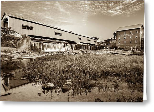 The Bridgeton Mill And Covered Bridge - Indiana - Sepia Tone Greeting Card by Gregory Ballos