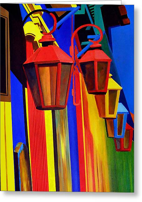 The Bright Lamps Of La Boca Greeting Card by JoeRay Kelley