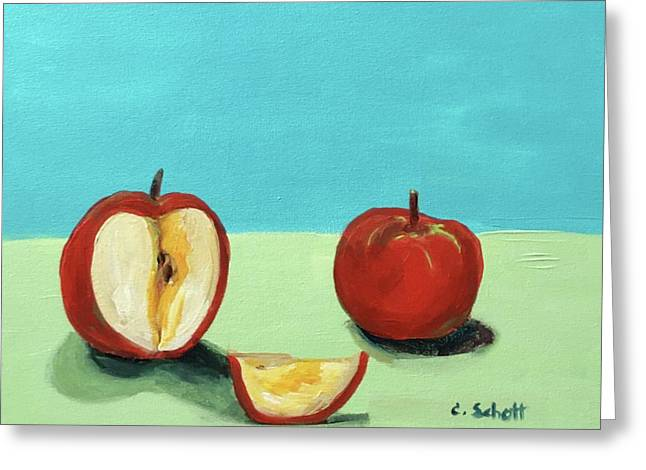 The Brilliant Red Apples With Wedge Greeting Card