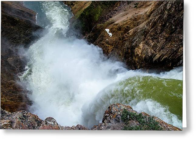 The Brink Of The Lower Falls Of The Yellowstone River Greeting Card