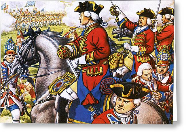 The British Life Guards Clash With The French At Fontenoy In 1745 Greeting Card by Pat Nicolle