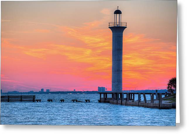 The Broadwater Beach Marina Light Greeting Card by JC Findley