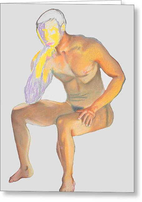 Greeting Card featuring the pastel The Broken Man by Jean Haynes