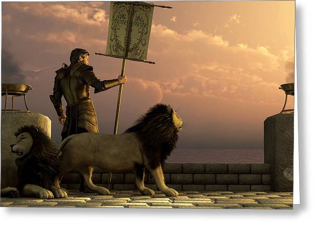 The Bronze Knight Of The Isle Of Lions Greeting Card by Daniel Eskridge