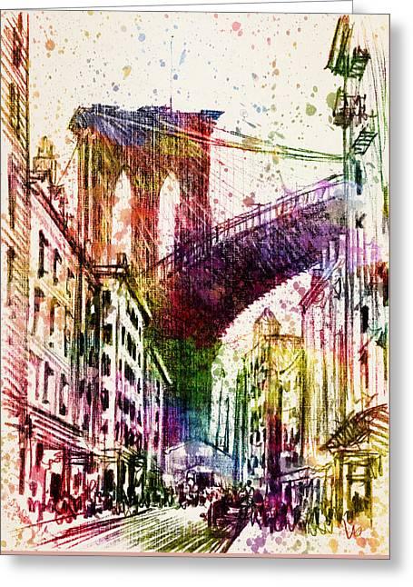 The Brooklyn Bridge 03 Greeting Card by Aged Pixel