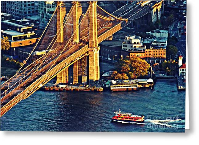 The Brooklyn Bridge At Sunset   Greeting Card