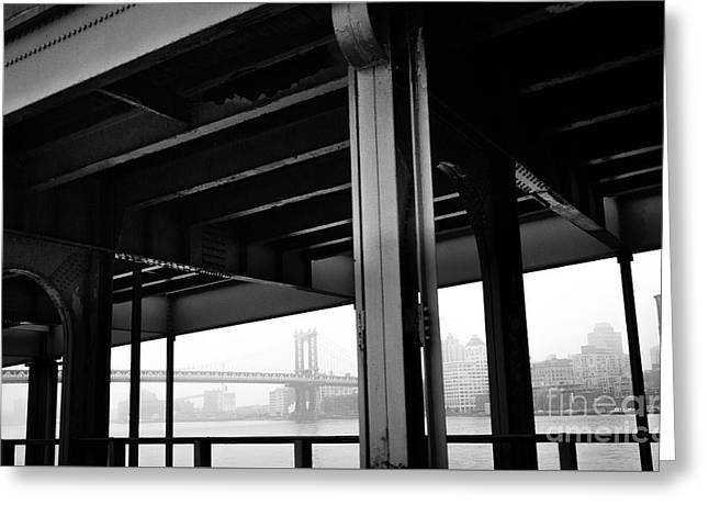 The Brooklyng Bridge And Manhattan Bridge From Fdr Drive Greeting Card