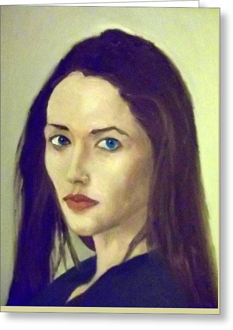 The Brunette With Blue Eyes Greeting Card