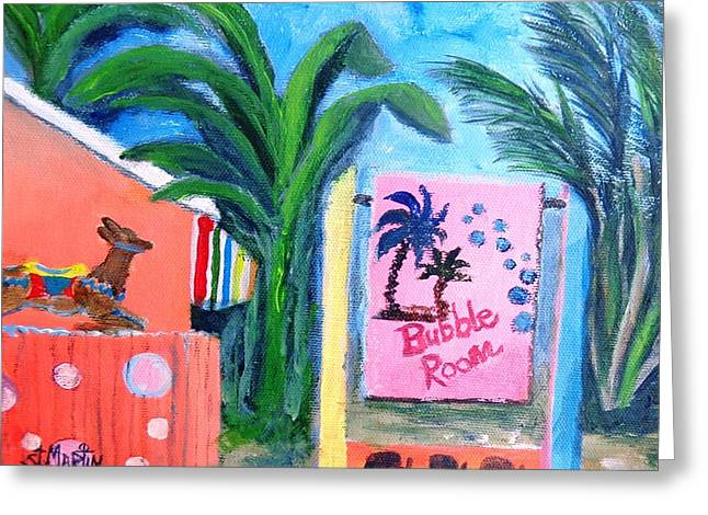 The Bubble Room Captiva Island Florida Greeting Card by Annie St Martin