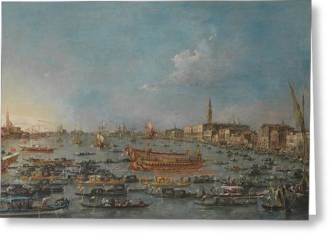 The Bucintoro Festival Of Venice Greeting Card by Francesco Guardi