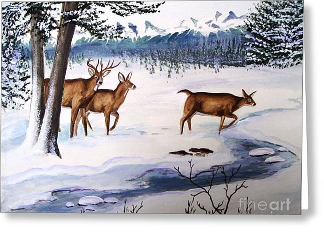 Greeting Card featuring the painting The Buck Stops Here by Patricia L Davidson