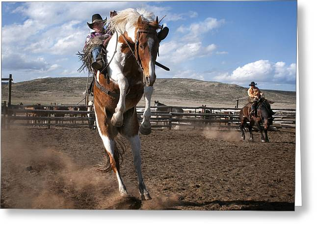 The Buckout At Sombrero Ranch Greeting Card