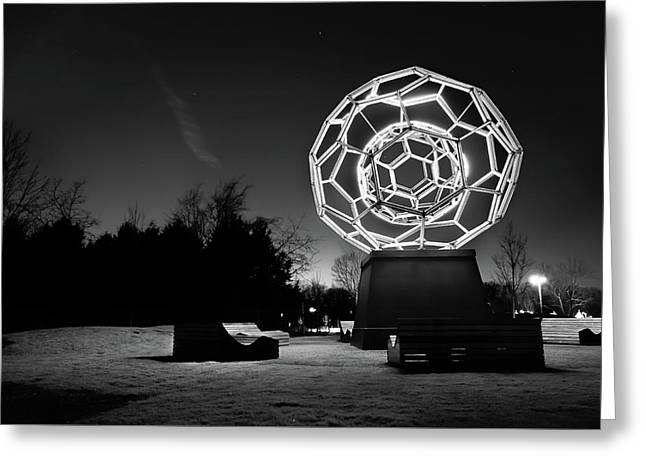 The Buckyball - Crystal Bridges Museum - Black And White Greeting Card by Gregory Ballos