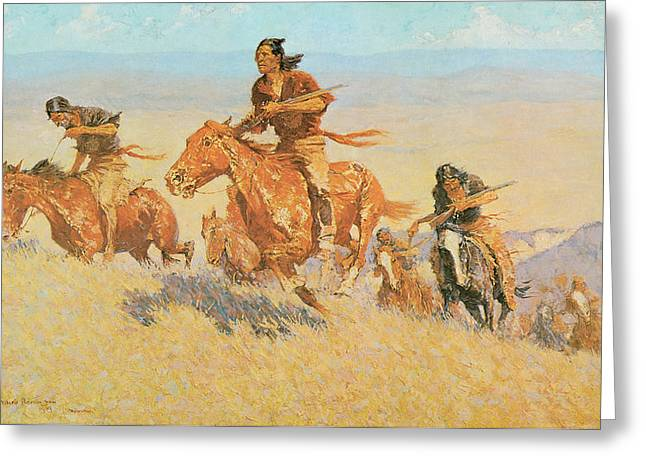 The Buffalo Runners Big Horn Basin Greeting Card by Frederic Remington