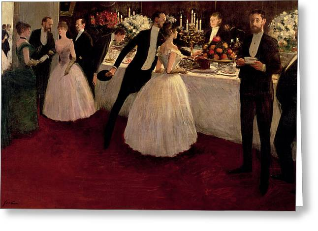 Man And Woman Greeting Cards - The Buffet Greeting Card by Jean Louis Forain