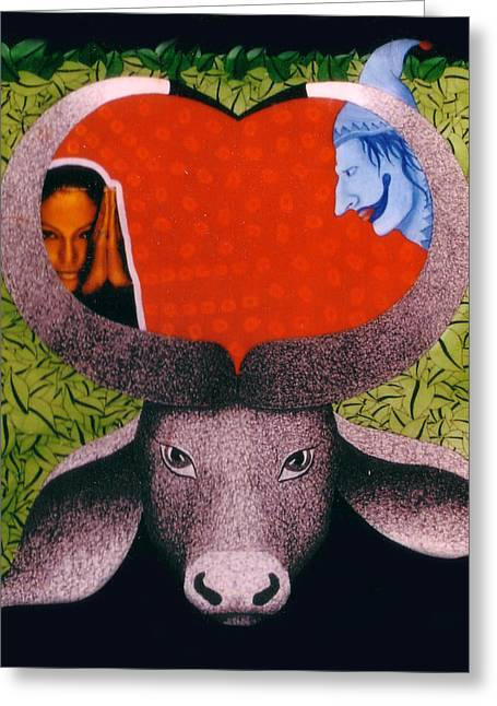 tHE BULL Greeting Card by Bharat Gothwal