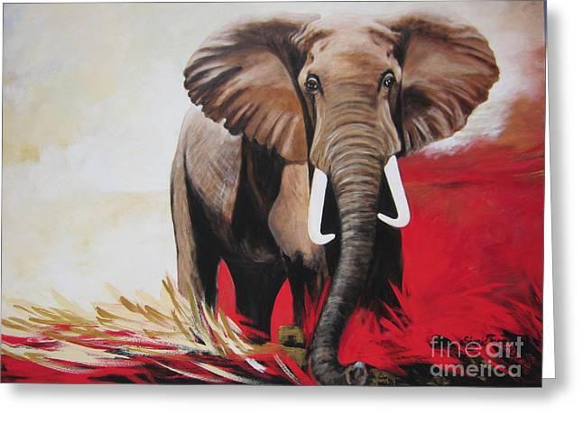 Win Win - The  Bull Elephant  Greeting Card