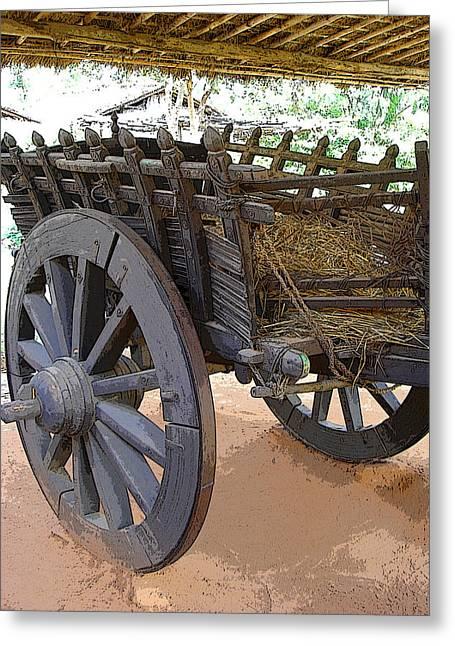 The Bullock Cart Greeting Card by Padamvir Singh