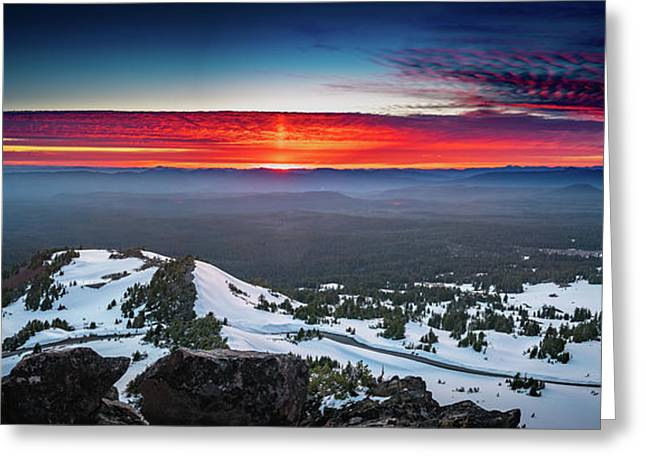 Greeting Card featuring the photograph The Burning Clouds At Crater Lake by William Lee