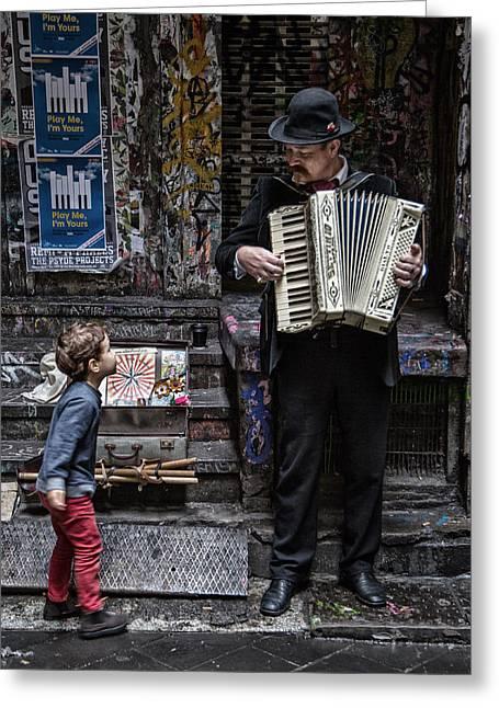 The Busker And The Boy Greeting Card by Vince Russell