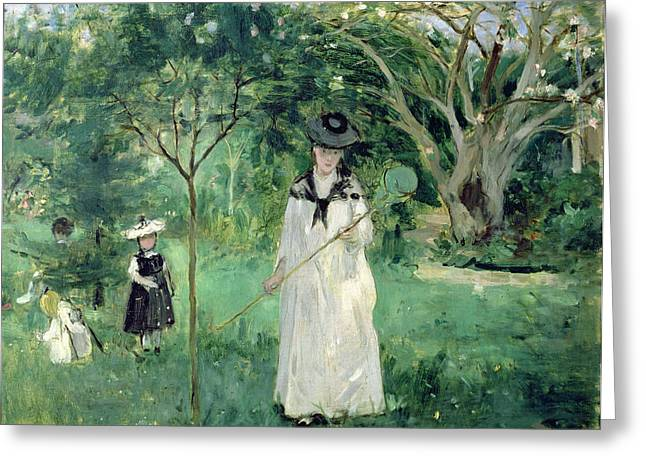 Berthe (1841-95) Greeting Cards - The Butterfly Hunt Greeting Card by Berthe Morisot