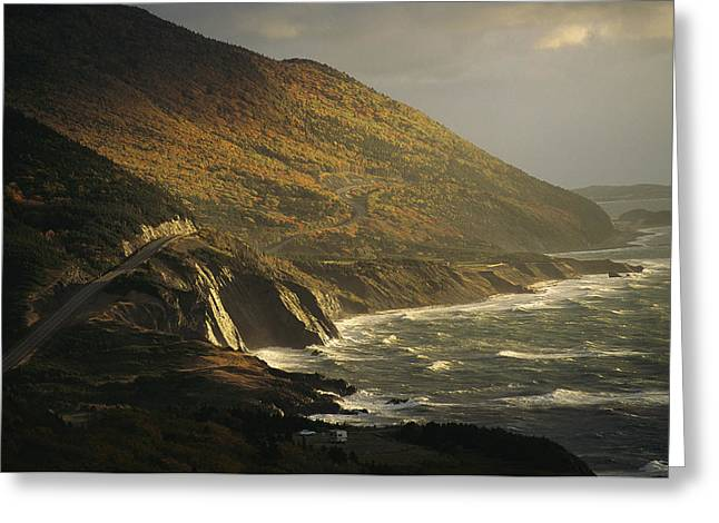 The Cabot Trail Winds Its Way Greeting Card by Raymond Gehman