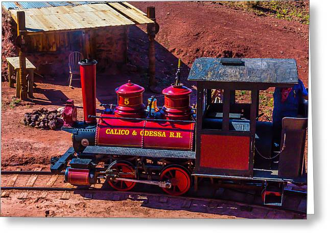 The Calico Odessa Riding The Rails Greeting Card by Garry Gay