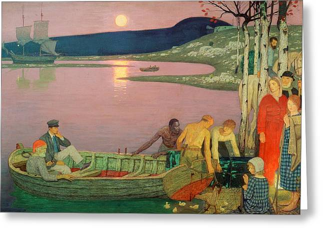 Pulling Greeting Cards - The Call of the Sea Greeting Card by Frederick Cayley Robinson
