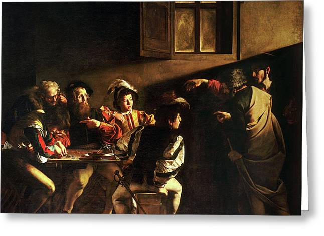 The Calling Of Saint Matthew Greeting Card by Caravaggio