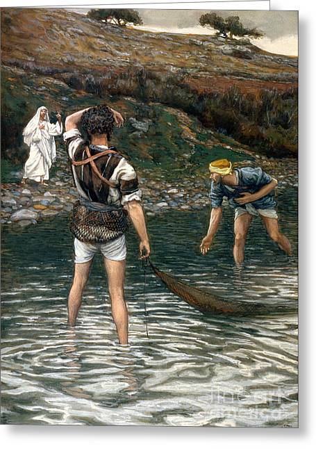 Best Sellers -  - The Followers Greeting Cards - The Calling of Saint Peter and Saint Andrew Greeting Card by Tissot