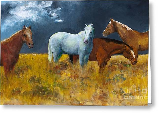 Horse Herd Greeting Cards - The Calm After the Storm Greeting Card by Frances Marino