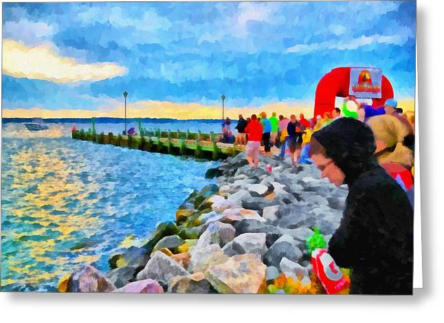 Greeting Card featuring the digital art The Calm Before The Race by Digital Photographic Arts