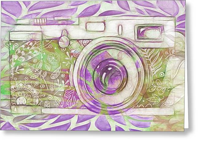 Greeting Card featuring the digital art The Camera - 02c6 by Variance Collections