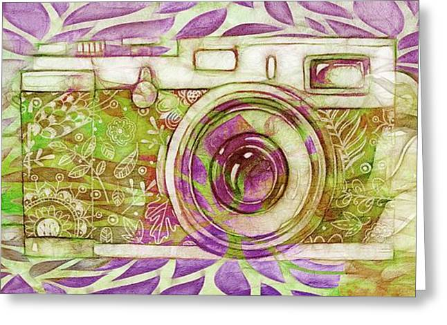 Greeting Card featuring the digital art The Camera - 02c6t by Variance Collections