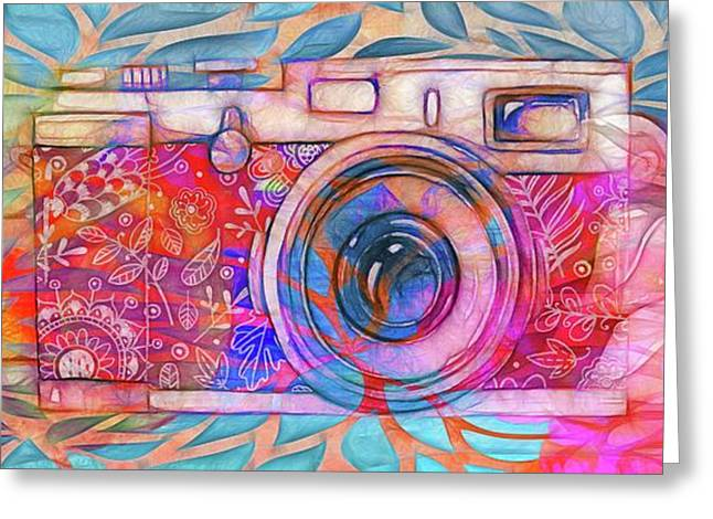Greeting Card featuring the digital art The Camera - 02v2 by Variance Collections
