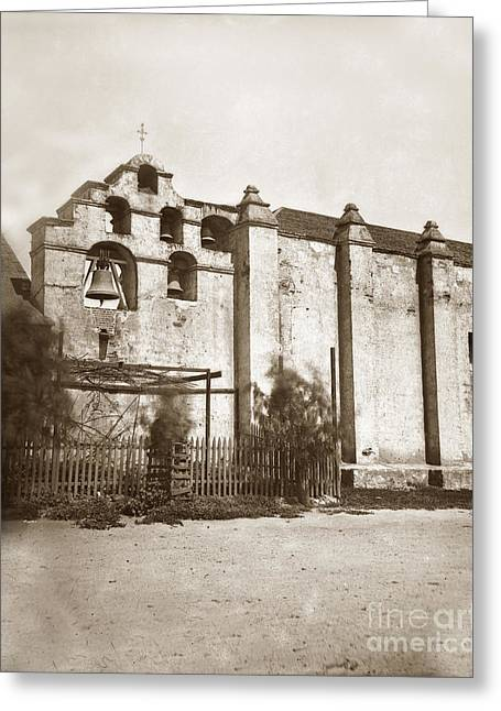 The Campanario, Or Bell Tower Of San Gabriel Mission Circa 1880 Greeting Card