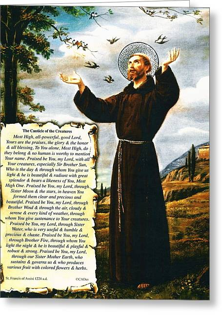 The Canticle Of The Creatures By St. Francis Of Assisi Greeting Card by Desiderata Gallery