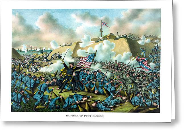 American Civil War Drawings Greeting Cards - The Capture of Fort Fisher Greeting Card by War Is Hell Store